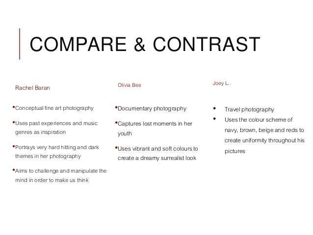 What types of photography do you suggest to compare and contrast ?
