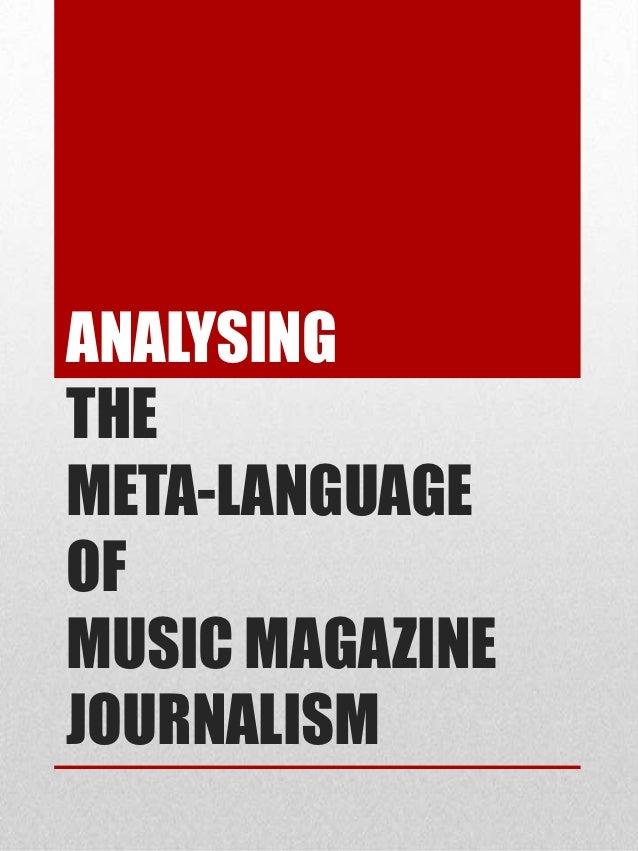 Analysing meta-language of music magazine journalism