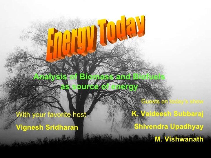 Analysis Of  Biomass And  Biofuels