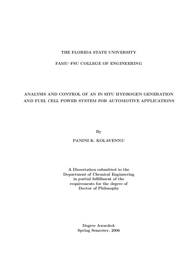 THE FLORIDA STATE UNIVERSITY FAMU–FSU COLLEGE OF ENGINEERING ANALYSIS AND CONTROL OF AN IN SITU HYDROGEN GENERATION AND FU...