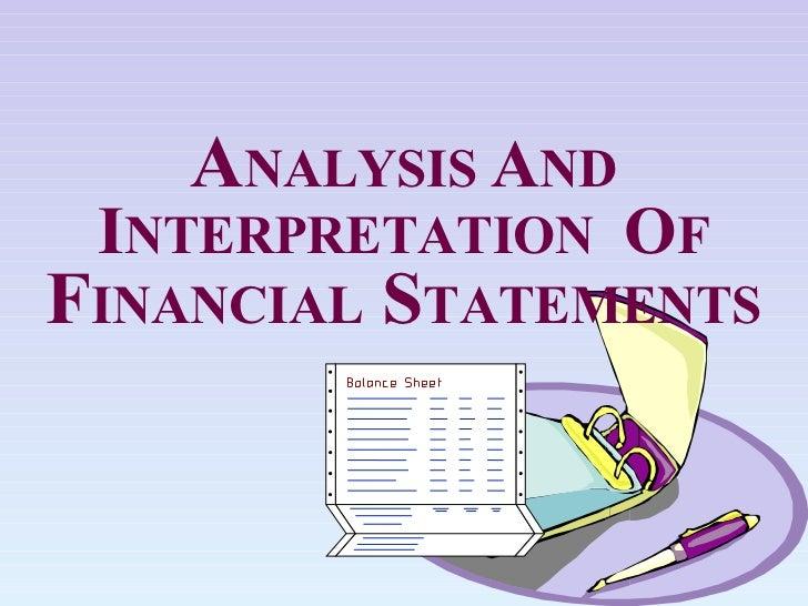 Analysis and interpretation of ratios