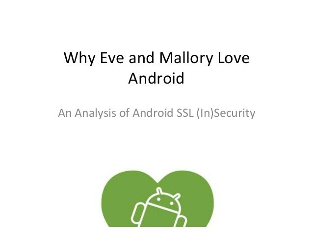 Why Eve and Mallory Love                Android An Analysis of Android SSL (In)Security