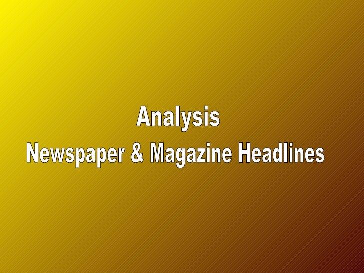 Analysis magazine and newspaper