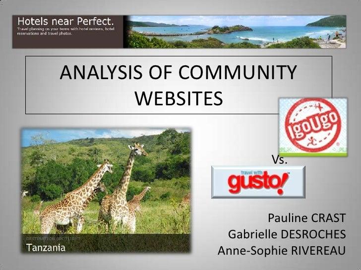 ANALYSIS OF COMMUNITY WEBSITES<br />Vs.<br />Pauline CRAST<br />Gabrielle DESROCHES<br />Anne-Sophie RIVEREAU<br />