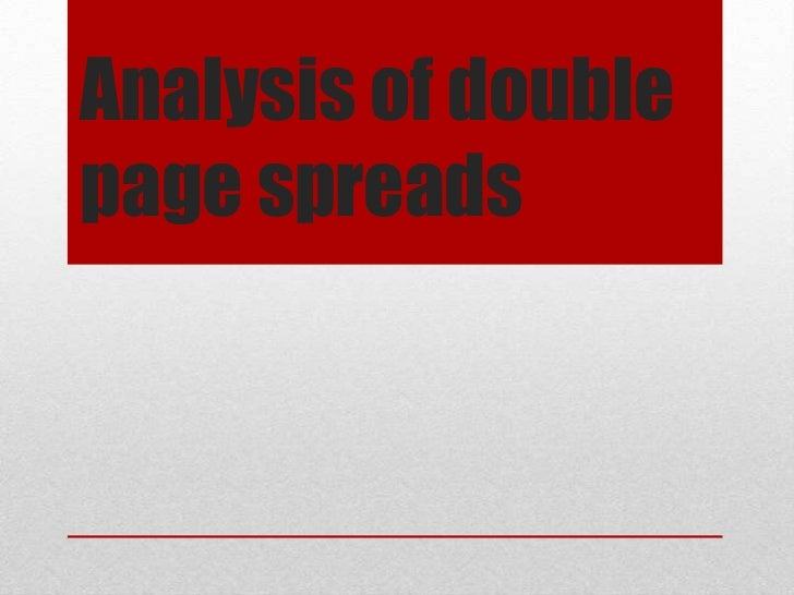 Analysis of doublepage spreads