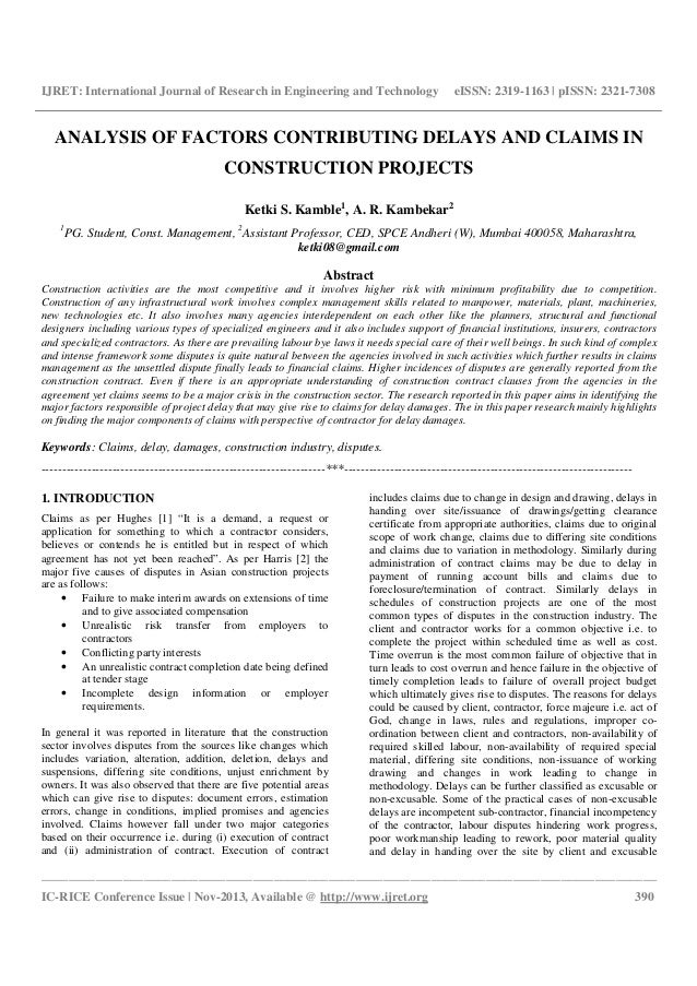 thesis delay construction project