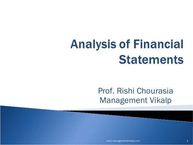 Analysis of financial statements prof rishi
