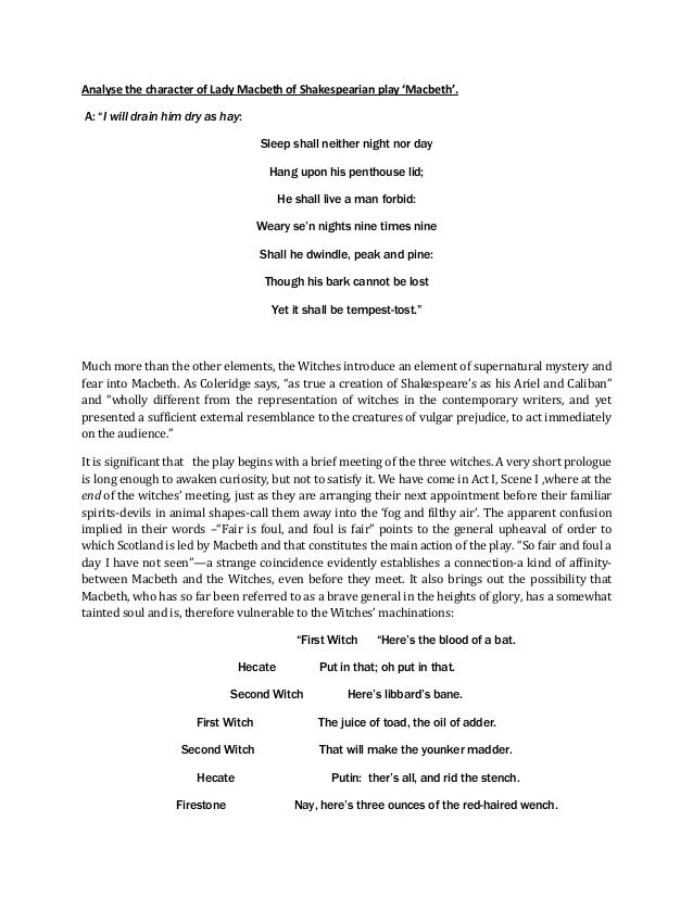 analysis of macbeth 2 A poem – acted out in the seven letters of macbeth's name the poem is acted out in seven letters of macbeth's name: seven lines, seven events from the plot.