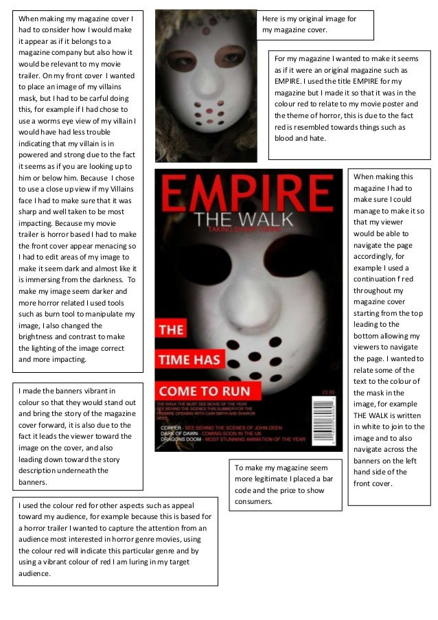 Analysis of magazine front cover