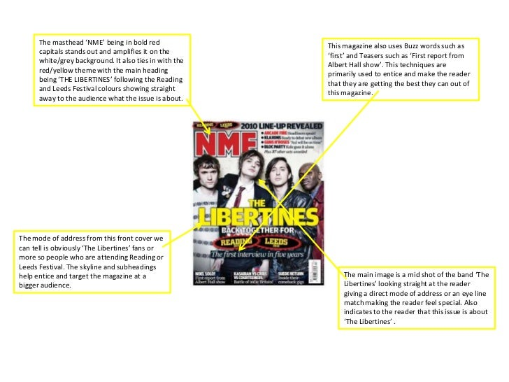 The masthead 'NME' being in bold red                                                        This magazine also uses Buzz w...