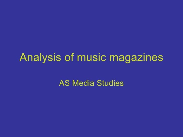 Analysis Of Music Magazines