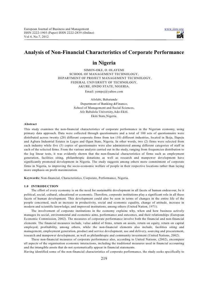 Analysis of non financial characteristics of corporate performance in nigeria