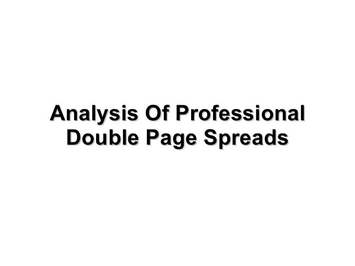 Analysis Of Professional Double Page Spreads