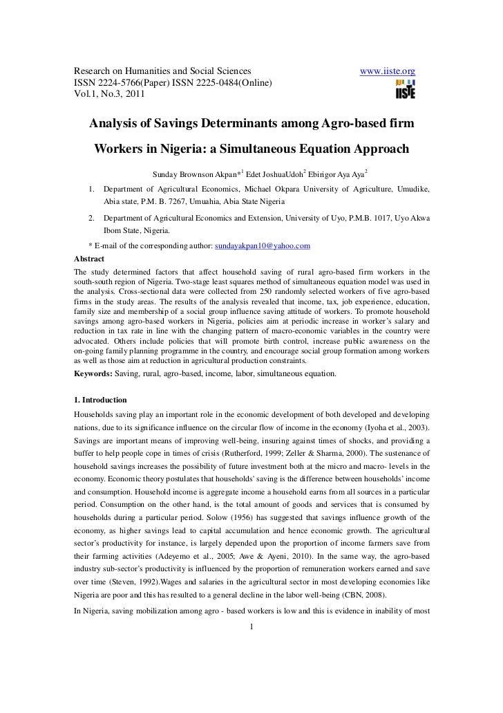 Analysis of savings determinants among agro based firm workers in nigeria