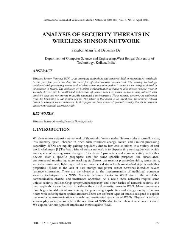International Journal of Wireless & Mobile Networks (IJWMN) Vol. 6, No. 2, April 2014 DOI : 10.5121/ijwmn.2014.6204 35 ANA...