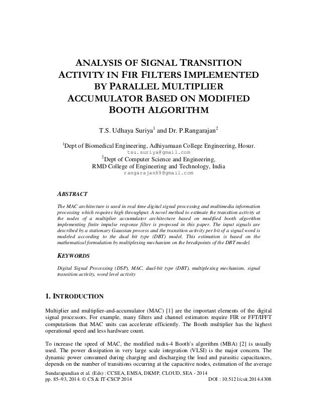 Analysis of signal transition