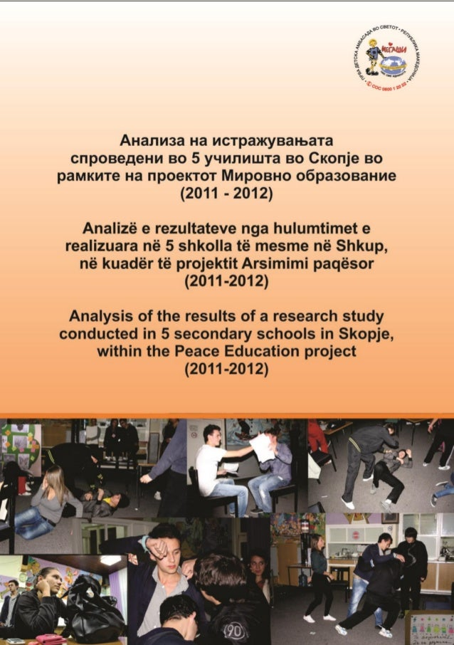Analysis of the results of a research study conducted in 5 secondary schools in skopje, within the 'peace education' project (2011 2012)
