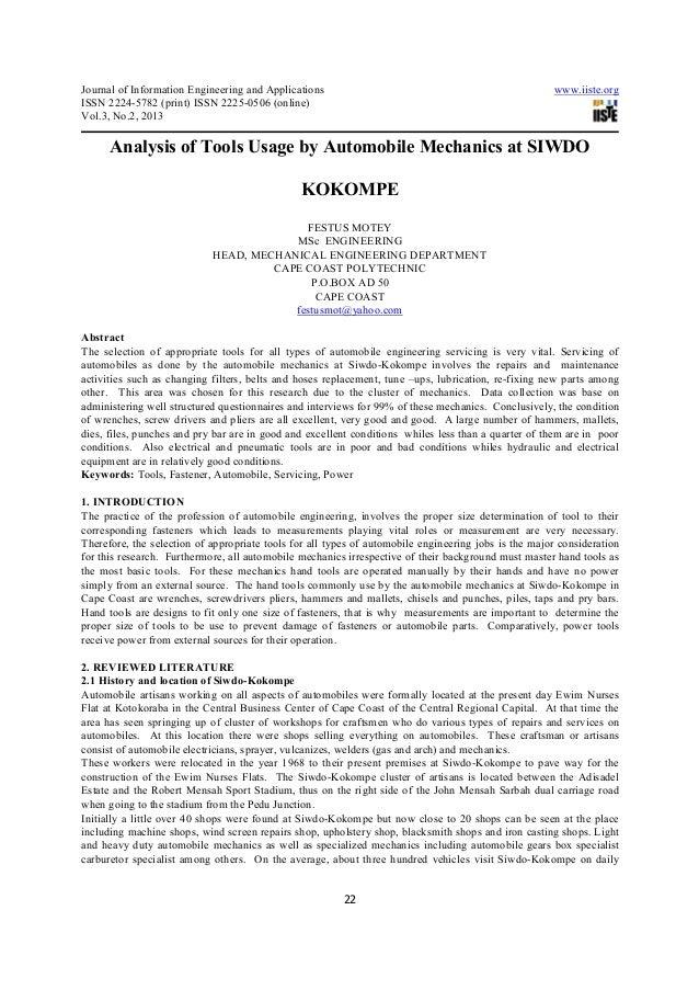 Analysis of tools usage by automobile mechanics at siwdo