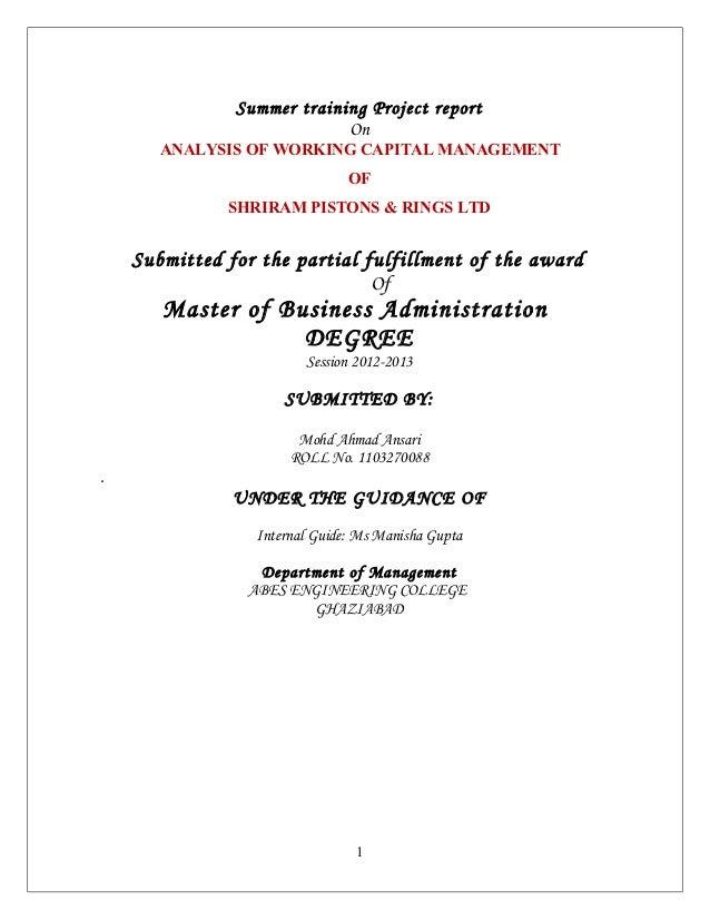 Analysis of working capital management  shriram piston  finance