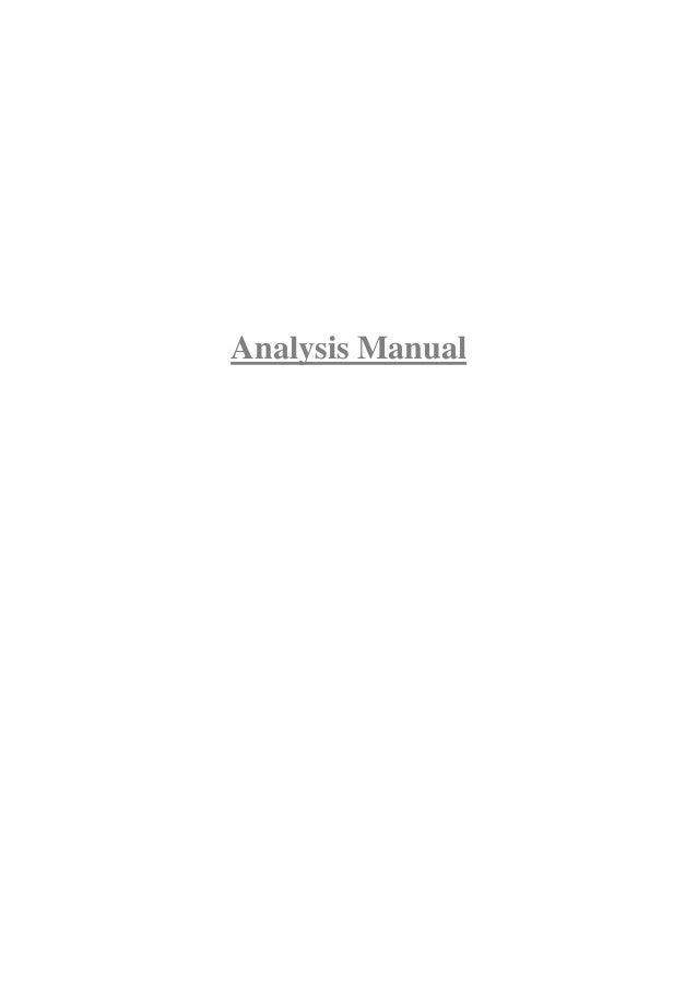 Analysis Manual