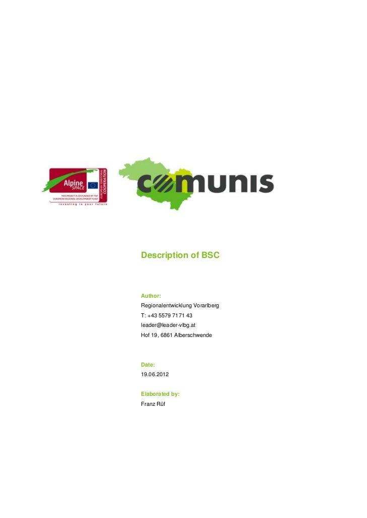 Comunis Analysis tool bsc balanced scorecard description