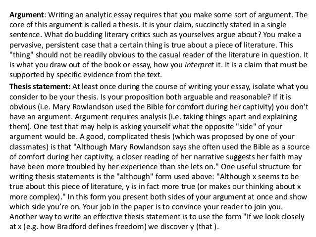 how to write an analytical essay of a book