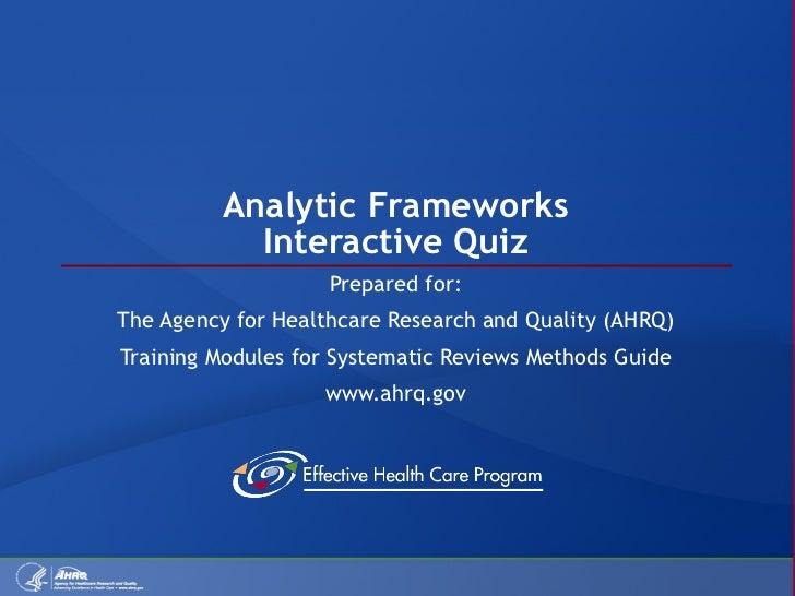 Analytic Frameworks Quiz