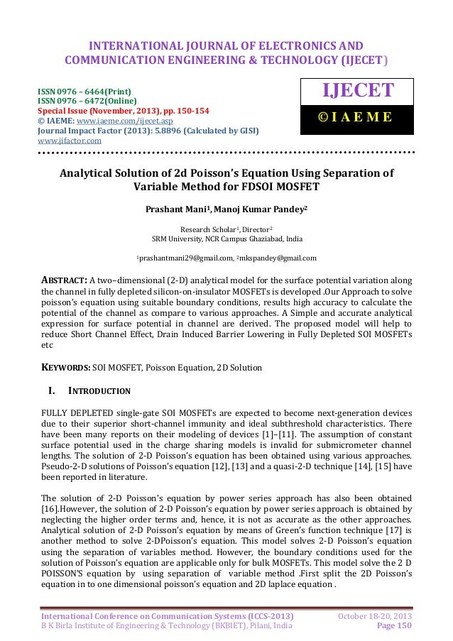 Analytical solution of 2d poisson's equation using separation of variable method for fdsoi mosfet