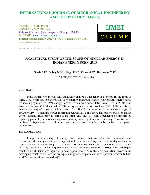 Analytical study of the scope of nuclear energy in indian energy scenario