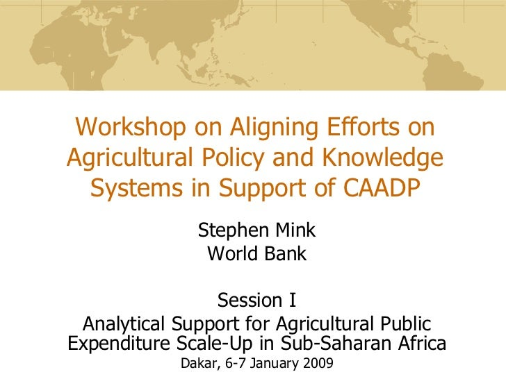Workshop on Aligning Efforts onAgricultural Policy and Knowledge  Systems in Support of CAADP              Stephen Mink   ...