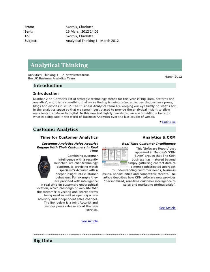 Analytical thinking 1 - March 2012