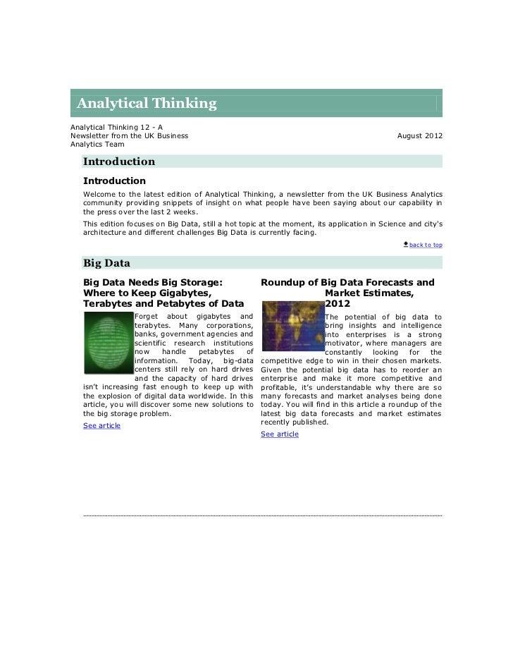 Analytical ThinkingAnalytical Thinking 12 - ANewsletter from the UK Business                                              ...