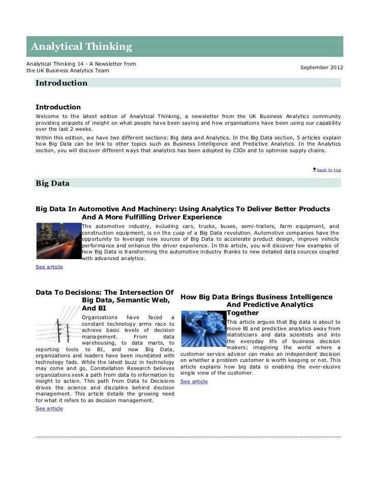 Analytical thinking 14 - September 2012