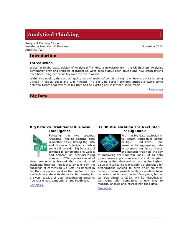 Analytical ThinkingAnalytical Thinking 17 - ANewsletter from the UK Business                                              ...