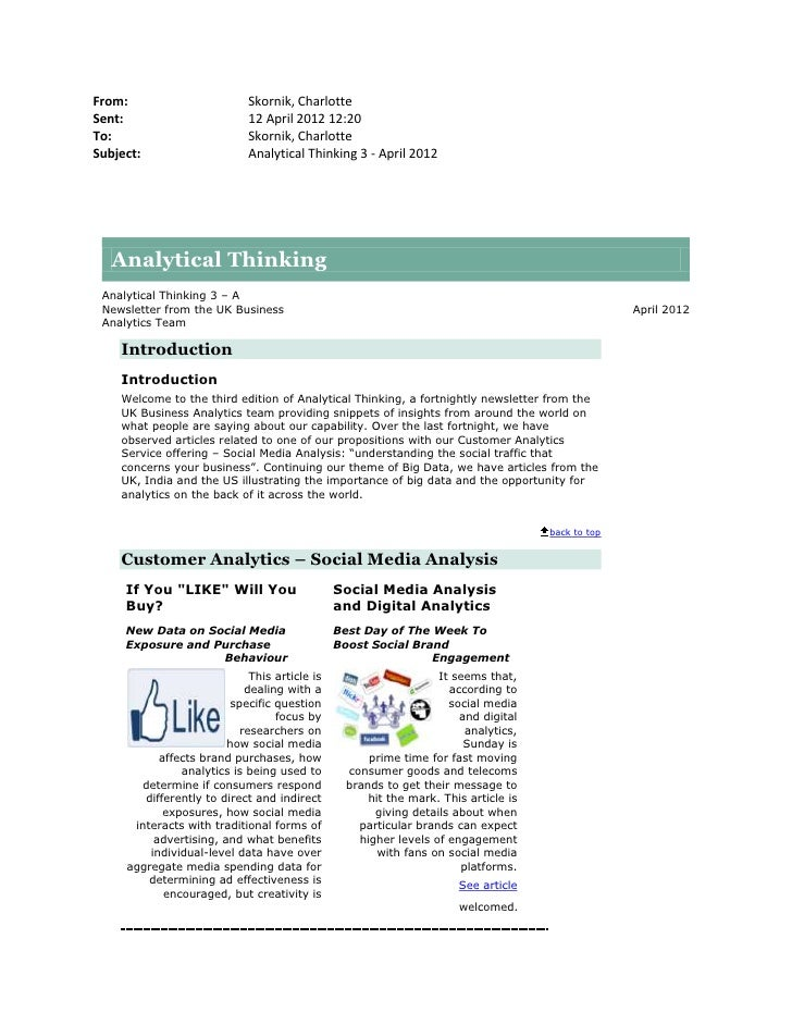Analytical thinking 3 - April 2012