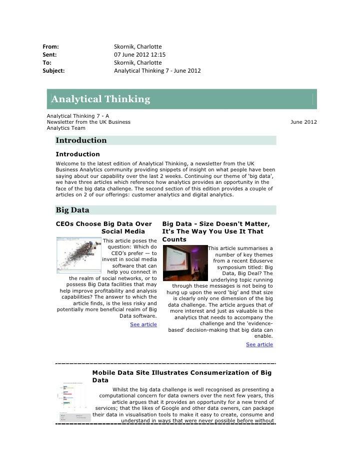 Analytical thinking 7 - June 2012