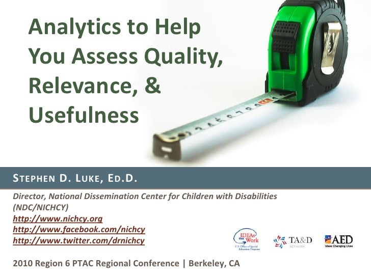 Analytics to Help You Assess Quality, Relevance, & Usefulness