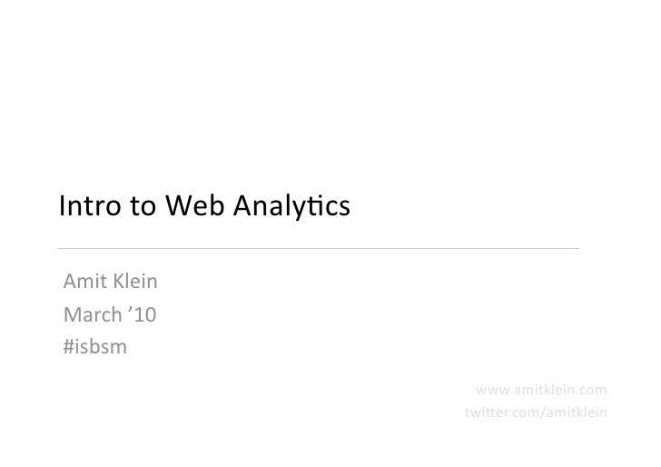 ISBSM #4 - Intro to Web Analytics