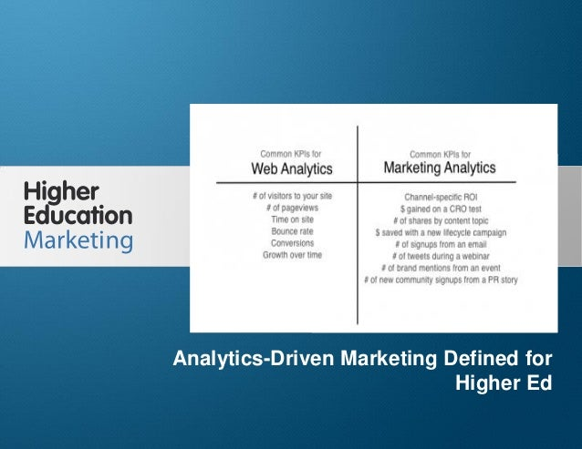Analytics Driven Marketing Defined for Higher Ed