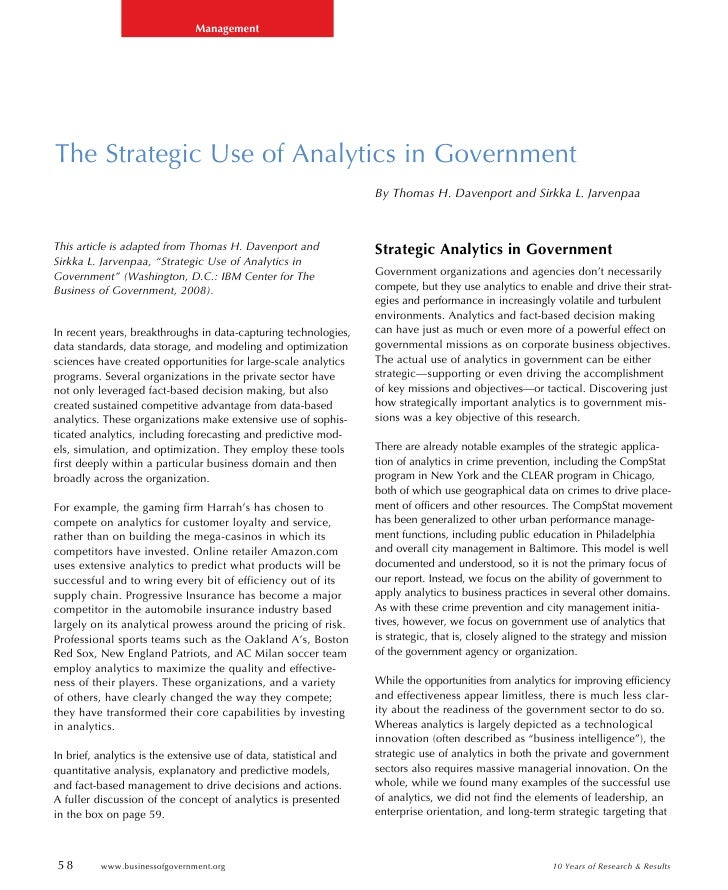 Using Business Intelligence: The Strategic Use of Analytics in Government