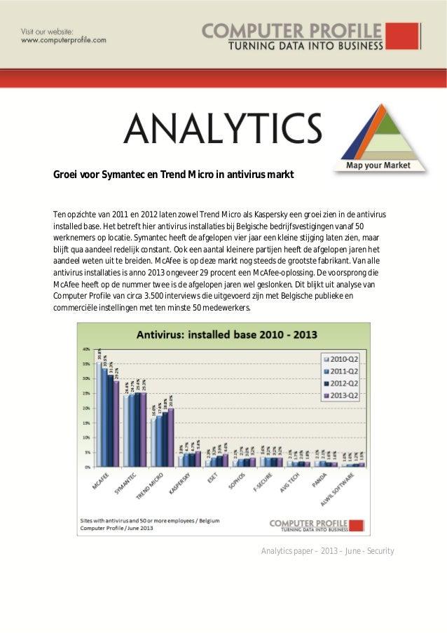 Groei voor Symantec en Trend Micro in antivirus markt Ten opzichte van 2011 en 2012 laten zowel Trend Micro als Kaspersky ...