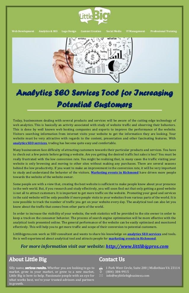 Web Development  Analytics & SEO  Logo Design  Content Creation  Social Media  IT Management  Professional Training  Analy...