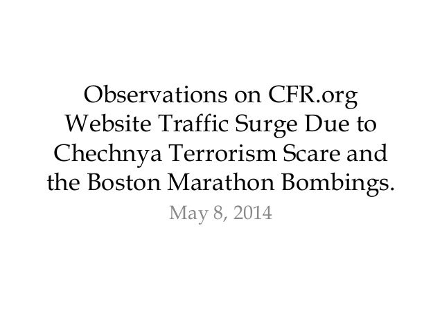 Observations on CFR.org Website Traffic Surge Due to Chechnya Terrorism Scare and the Boston Marathon Bombings. May 8, 2014