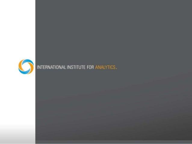Analytics Talent February 13, 2013 Robert Morison IIA Faculty Member Noted Analytics Author & Expert