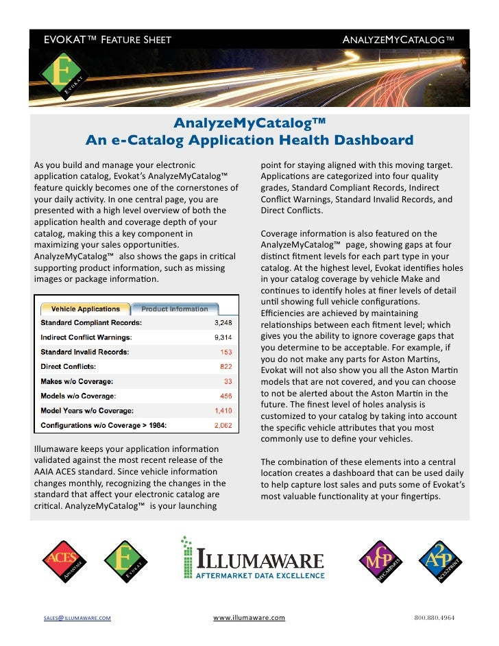 EVOKAT™ FEATURE SHEET                                                     ANALYZEMYCATALOG™                         Anal...