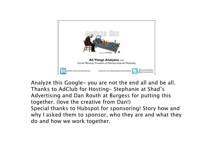 Analyze This -All Things Analytics
