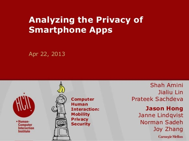 ©2009CarnegieMellonUniversity:1 Analyzing the Privacy of Smartphone Apps Apr 22, 2013 Shah Amini Jialiu Lin Prateek Sachde...