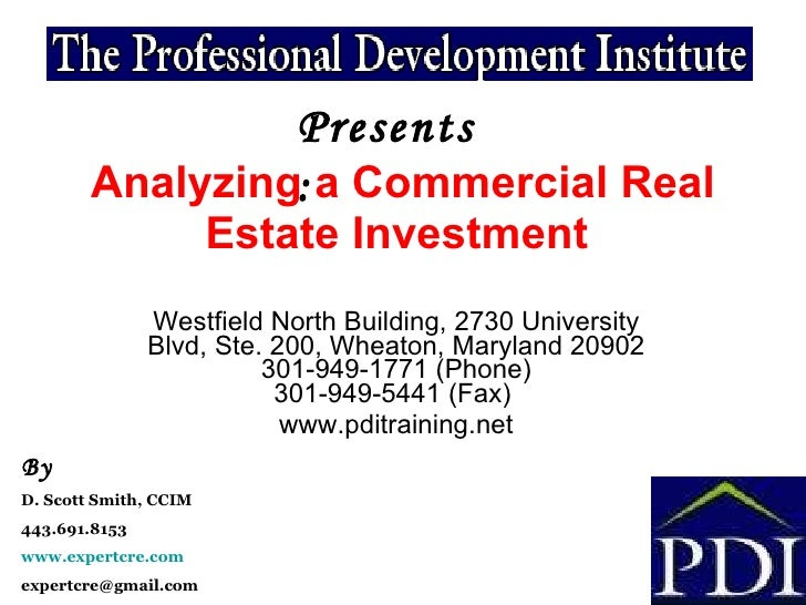 Analyzing a commercial real estate investment