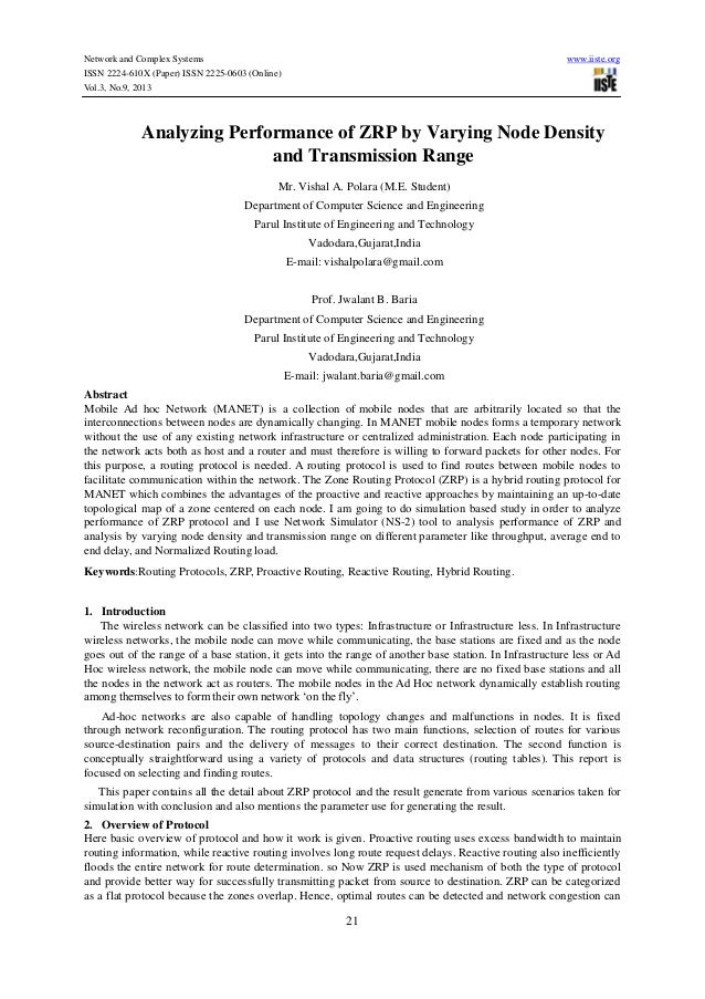Analyzing performance of zrp by varying node density and transmission range