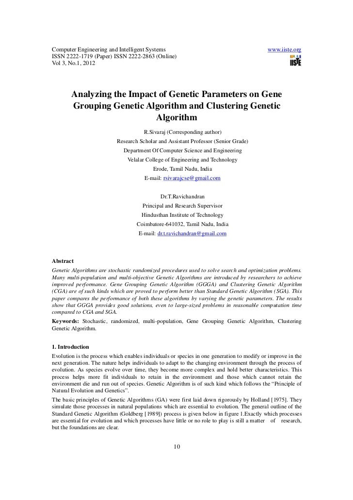 Analyzing the impact of genetic parameters on gene grouping genetic algorithm and clustering genetic algorithm